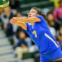 Zuni Thunderbird Nicole Vacit (7) volleys to the Thoreau Hawks at Thoreau High School Thursday.
