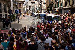 October 3, 2017 - Barcelona, Catalonia, Spain - Pro-independence supportes protest outside Spanish National Police Headquarters in Barcelona.  A general strike goes over Catalan territory to protest against brutality by Spanish police during a referendum on the region's secession from Spain that left near nine  hundred of people injured. (Credit Image: © Jordi Boixareu via ZUMA Wire)
