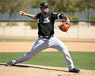 GLENDALE, ARIZONA - FEBRUARY 20:  Jose Ruiz #66 of the Chicago White Sox pitches during spring training workouts on February 20, 2019 at Camelback Ranch in Glendale Arizona.  (Photo by Ron Vesely). Subject:   Jose Ruiz