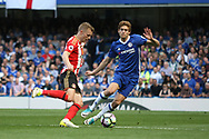 Chelsea defender Marcos Alonso (3)and Sunderland midfielder Sebastian Larsson (7)  during the Premier League match between Chelsea and Sunderland at Stamford Bridge, London, England on 21 May 2017. Photo by John Potts.