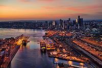 Duwamish Waterway (foreground), Port of Seattle