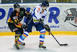 Jan Bobnaric of Slavija vs Anze Ahacic of Triglav at SLOHOKEJ league ice hockey match between HK Slavija and HK Triglav Kranj, on February 3, 2010 in Arena Zalog, Ljubljana, Slovenia. Triglaw won 4:1. (Photo by Vid Ponikvar / Sportida)