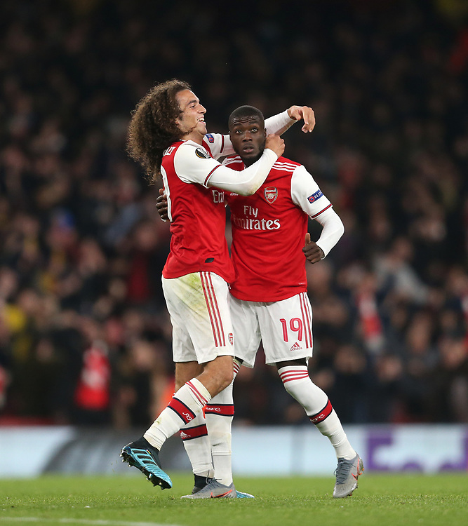 Arsenal's Nicolas Pepe celebrates scoring his side's third goal with Matteo Guendouzi<br /> <br /> Photographer Rob Newell/CameraSport<br /> <br /> UEFA Europa League group F - Arsenal v Vitoria Guimaraes - Thursday 24th October 2019  - Emirates Stadium - London<br />  <br /> World Copyright © 2018 CameraSport. All rights reserved. 43 Linden Ave. Countesthorpe. Leicester. England. LE8 5PG - Tel: +44 (0) 116 277 4147 - admin@camerasport.com - www.camerasport.com