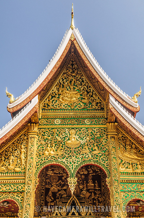 Top of the Haw Pha Bang (or Palace Chapel) at the Royal Palace Museum in Luang Prabang, Laos. The chapel sits at the northeastern corner of the grounds. Construction started in 1963.