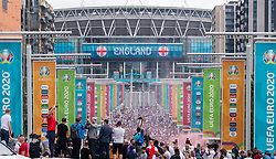 © Licensed to London News Pictures. 11/07/2021. London, UK. Football fans gather at Wembley Stadium ahead of the EURO2020 football final against England and Italy. Photo credit: Peter Manning/LNP
