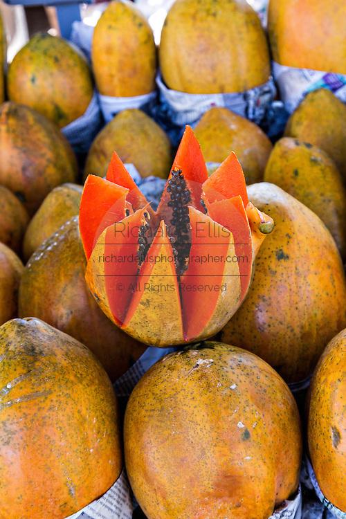 Papaya at Benito Juarez market in Oaxaca, Mexico.