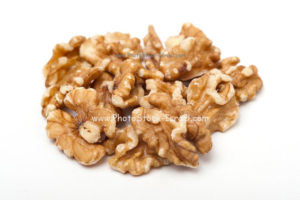 Roasted shelled walnuts On white Background