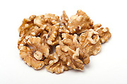 Roasted shelled walnuts On white Background