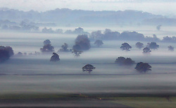 © Licensed to London News Pictures. 07/05/2018. Mist pictured before sunrise over Ditcheat in Somerset. Photo credit: Jason Bryant/LNP