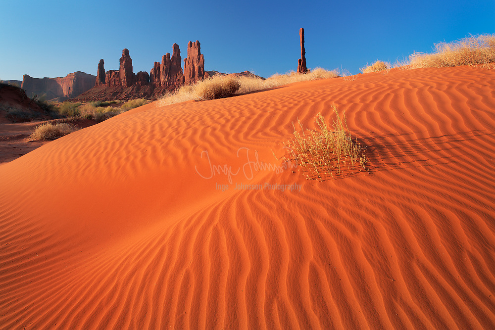 Sand dunes at Yei-bi-Chai rocks in Monument Valley, AZ