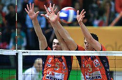 Alen Sket and Davor Cebron at last final volleyball match of 1.DOL Radenska Classic between OK ACH Volley and Salonit Anhovo, on April 21, 2009, in Arena SGS Radovljica, Slovenia. ACH Volley won the match 3:0 and became Slovenian Champion. (Photo by Vid Ponikvar / Sportida)