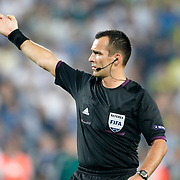 Referee's ivan Bebek during their UEFA Europa League Group Stage Group C soccer match Fenerbahce between Marseille at Sukru Saracaoglu stadium in Istanbul Turkey on Thursday 20 September 2012. Photo by TURKPIX