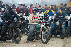 Matt Walksler and Go Takamine ready to move up to the starting line for another Harley vs Indian race at TROG West - The Race of Gentlemen. Pismo Beach, CA, USA. Saturday October 15, 2016. Photography ©2016 Michael Lichter.