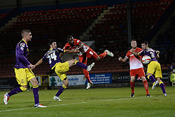 Notts County's Enda Stevens fails to prevent Leyton Orient's Kevin Lisbie from scoring a goal  - Photo mandatory by-line: Mitchell Gunn/JMP - Tel: Mobile: 07966 386802 17/09/2013 - SPORT - FOOTBALL -  Matchroom Stadium - London - Leyton Orient v Notts County - Sky Bet League One