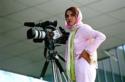 Iranian journalist covering the Olympics games at ghazi Stadium