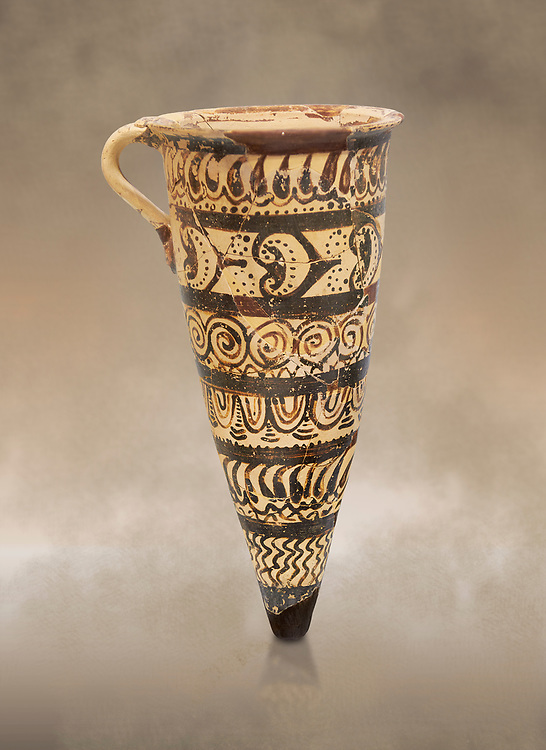 """Minoan decorated conical rhython geometric design , Konssos  'Unexplored Mansion"""" 1450-1370 BC;  Heraklion Archaeological  Museum .<br /> <br /> If you prefer to buy from our ALAMY PHOTO LIBRARY  Collection visit : https://www.alamy.com/portfolio/paul-williams-funkystock/minoan-art-artefacts.html . Type -   Heraklion   - into the LOWER SEARCH WITHIN GALLERY box. Refine search by adding background colour, place, museum etc<br /> <br /> Visit our MINOAN ART PHOTO COLLECTIONS for more photos to download  as wall art prints https://funkystock.photoshelter.com/gallery-collection/Ancient-Minoans-Art-Artefacts-Antiquities-Historic-Places-Pictures-Images-of/C0000ricT2SU_M9w"""