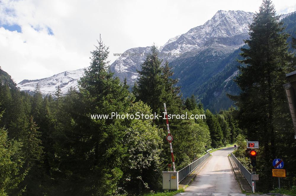 Austria, The one way Entrance to the Zillertal High Alpine nature Park Hochgebirgs Naturpark near Ginzling, Tyrol
