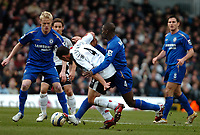 Photo: Ed Godden.<br /> Fulham v Chelsea. The Barclays Premiership. 19/03/2006.<br /> Steed Malbranque (c) is tackled by Chelseas Claude Makalele.