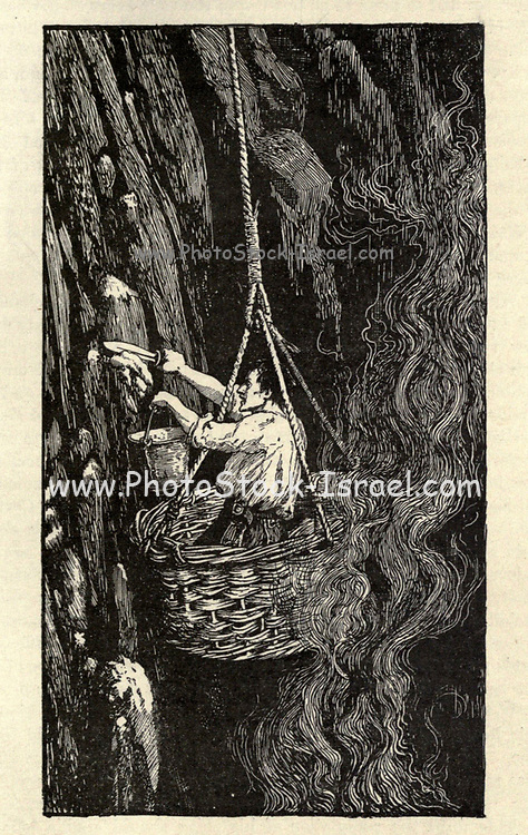 Harvesting Guano Illustrating the story ' The Conquest of Montezuma's Empire ' From the book ' The true story book ' Edited by ANDREW LANG illustrated by L. BOGLE, LUCIEN DAVIS, H. J. FORD, C. H. M. KERR, and LANCELOT SPEED. Published by Longmans, Green, and Co. London and New York in 1893