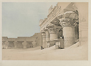 Edfou Temple Egypt and Nubia, Volume II: Edfou, 1846. Louis Haghe (British, 1806-1885), F.G.Moon, 20 Threadneedle Street, London, after David Roberts (British, 1796-1864). Color lithograph; sheet: 43 x 60.2 cm (16 15/16 x 23 11/16 in.); image: 32.7 x 48.8 cm (12 7/8 x 19 3/16 in.).