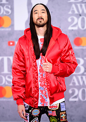 Steve Aoki attending the Brit Awards 2019 at the O2 Arena, London.