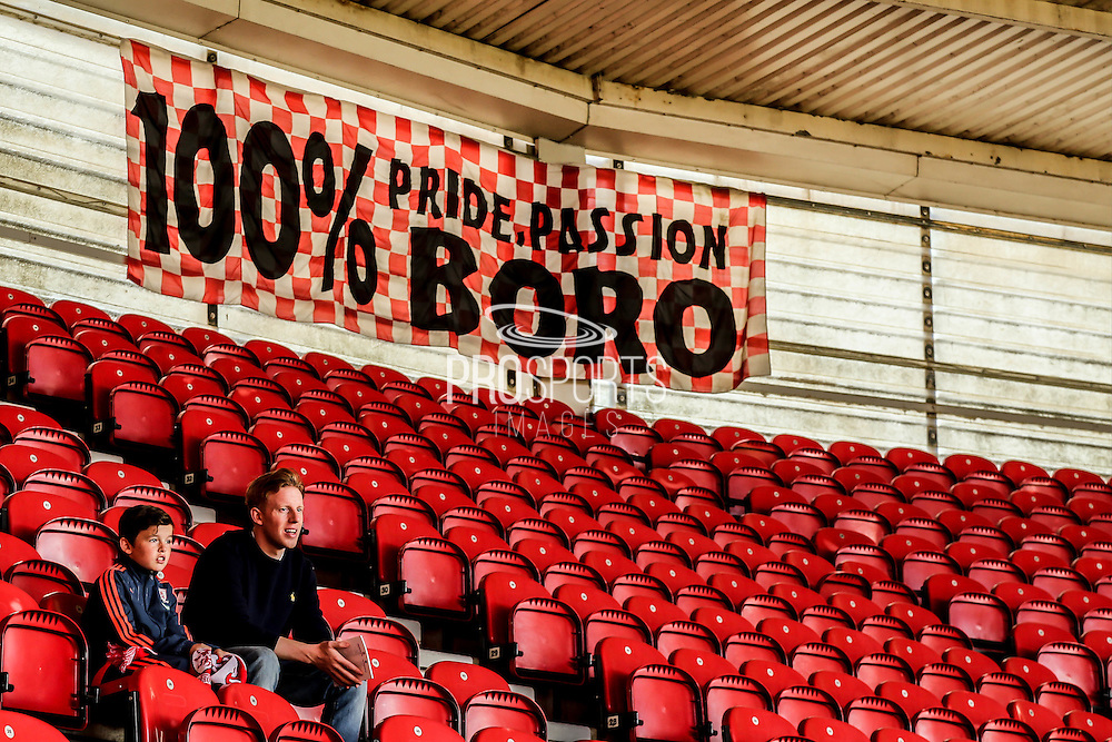 Eagerly waiting fans at the Riverside Stadium during the Sky Bet Championship match between Middlesbrough and Leeds United at the Riverside Stadium, Middlesbrough, England on 27 September 2015. Photo by Simon Davies.