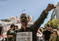 Protesters take part in a demonstration against the visit of U.S. Secretary of State Mike Pompeo, in Athens, Greece October 5, 2019<br /> <br /> Pictured: <br /> Dimitris Lampropoulos  | EEm date