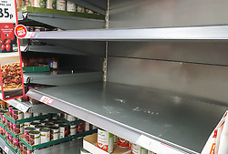 © Licensed to London News Pictures. 25/09/2020. London, UK. Empty shelves in Morrisons supermarket in north London amidst a possible second lockdown due to a rise in COVID-19 cases. A number of supermarkets are restricting shoppers from bulk-buying products such as flour, pasta, toilet rolls and anti-bacterial wipes. Photo credit: Dinendra Haria/LNP
