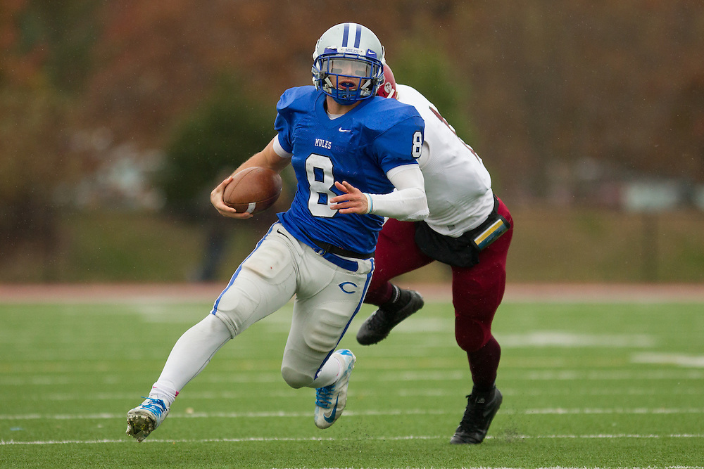 Justin Ciero, of Colby College, in a NCAA Division III football game against Bates College on October 26, 2013 in Waterville, ME. (Dustin Satloff/Colby College Athletics)