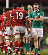 Ireland and Canada players shake hands during the 2016 Guinness Series  autumn international rugby match, Ireland v Canada at the Aviva Stadium in Dublin, Ireland on Saturday 12th November 2016.<br /> pic by  John Halas, Andrew Orchard sports photography.