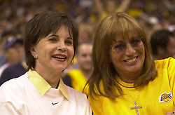 May 05, 2002; Los Angeles, CA, USA; PENNY MARSHALL (R) & CINDY WILLIAMS, formerly TV's 'Laverne & Shirley,' sit courtside at the Los Angeles Lakers second round opener against the San Antonio Spurs. Marshall is big Lakers fan and season ticket holder. (Credit Image: © Tomo Ikic/ZUMAPRESS.com)
