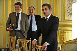 Exclusive. No Tabloids. French President Nicolas Sarkozy flanked by his Communication advisor Franck Louvrier and Secretary-general of the Elysee Palace Claude Gueant is seen during an interview at the Elysee Palace in Paris, France, on March 7, 2010. Photo by Elodie Gregoire/ABACAPRESS.COM