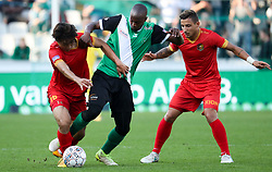 September 23, 2017 - Brugge, BELGIUM - Tubize's Wook Ki Hwang and Cercle's Isaac Kone fight for the ball during a soccer game between Cercle Brugge KSV and AFC Tubize, Saturday 23 September 2017, on day seven of the division 1B Proximus League competition of the Belgian championship. BELGA PHOTO VIRGINIE LEFOUR (Credit Image: © Virginie Lefour/Belga via ZUMA Press)