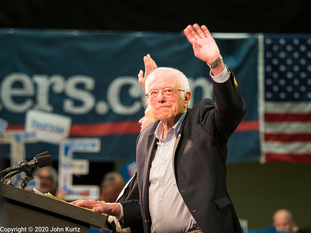 02 MARCH 2020 - ST. PAUL, MINNESOTA: US Senator BERNIE SANDERS (Ind-VT) waves from the stage at a Get Out the Vote rally in the RiverCentre in St. Paul. More than 8,400 people attended the rally. Minnesota is a Super Tuesday state this year and Minnesotans will go to the polls Tuesday. Minnesota Sen. Amy Klobuchar was expected to win her home state, but she dropped out early Monday, March 2.         PHOTO BY JACK KURTZ
