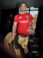 Rugby Union - 2017 British & Irish Lions Tour to New Zealand - Squad & Captain Announcement Press Conference<br /> <br /> Lions Captain, Sam Warburton with the Lions Mascot at the Hilton Syon Park, London.<br /> <br /> COLORSPORT/ANDREW COWIE