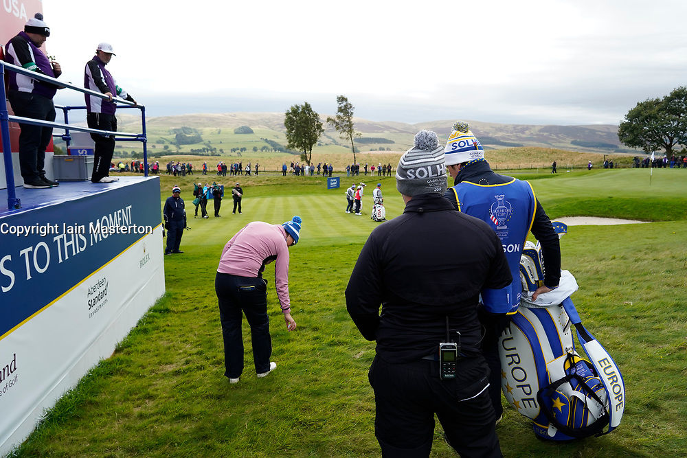 Auchterarder, Scotland, UK. 14 September 2019. Saturday afternoon Fourballs matches  at 2019 Solheim Cup on Centenary Course at Gleneagles. Pictured; Caroline Masson of Europe drops beside scoreboard on the 4th hole. Iain Masterton/Alamy Live News