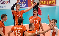 23-09-2016 NED: EK Kwalificatie Nederland - Oostenrijk, Koog aan de Zaan<br /> Nederland wint met 3-0 van Oostenrijk / Kay van Dijk #12, Jeroen Rauwerdink #10, Dirk Sparidans #5