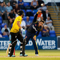 Glamorgan's Andrew Salter bowls<br /> <br /> Photographer Simon King/Replay Images<br /> <br /> Vitality Blast T20 - Round 8 - Glamorgan v Gloucestershire - Friday 3rd August 2018 - Sophia Gardens - Cardiff<br /> <br /> World Copyright © Replay Images . All rights reserved. info@replayimages.co.uk - http://replayimages.co.uk
