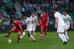 Granit Xhaka of Switzerland vs Armin Bacinovic of Slovenia during qualification football match for World Cup 2014 in Brazil between national team of Slovenia and Switzerland, on September 7, 2012 in Ljubljana, Slovenia. (Photo by Matic Klansek Velej / Sportida.com)