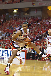 1 April 2010: Shala Jackson grabs a rebound. The Redbirds of Illinois State are dropped by the Golden Bears of California 61-45 in the semi-final round of the 2010 Women's National Invitational Tournament (WNIT) on Doug Collins Court inside Redbird Arena at Normal Illinois.