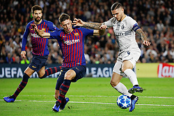 BARCELONA, Oct. 25, 2018  FC Barcelona's Clement Lenglet (C) vies with Inter Milan's Mauro Icardi (R) during a group B Champions League match between FC Barcelona and Inter Milan in Barcelona, Spain, on Oct. 24, 2018. Barcelona won 2-0. (Credit Image: © Joan Gosa/Xinhua via ZUMA Wire)