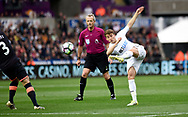 Tom Carroll of Swansea city  has a shot at the Everton goal in the first half.<br /> Premier league match, Swansea city v Everton at the Liberty Stadium in Swansea, South Wales on Saturday 6th May 2017.<br /> pic by  Phil Rees, Andrew Orchard sports photography.