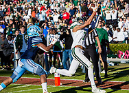Dutch Fork Silver Foxes wide receiver Jalin Hyatt (7) catches the game-ending, game-winning touchdown in overtime of the Class AAAAA State Championship Game at Williams-Brice Stadium in Columbia, SC. Dutch Fork Silver Foxes won 34-31. Dutch Fork wins their 4th straight state championship at Williams Brice Stadium. Photos ©JeffBlakePhoto.com
