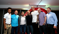 Bobby Reid, Aden Flint and Bristol City head coach Lee Johnson pose for a picture with guests mingle during the Lansdown Club event - Mandatory by-line: Robbie Stephenson/JMP - 06/09/2016 - GENERAL SPORT - Ashton Gate - Bristol, England - Lansdown Club -