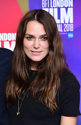 Keira Knightley attending the Benjamin Premiere as part of the BFI London Film Festival at BFI in London.