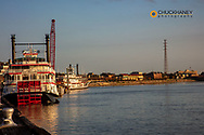 Steam boats along the Mississippi River in New Orleans, Louisiana, USA