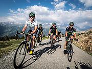 Bernard Hinault coach des cyclistes du team SKODA  amateur  pour participer a l'étape du tour quelques jours avant le tours de France 2017<br /> Montée du col de Granon