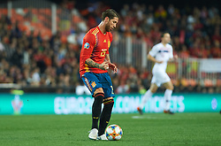 March 24, 2019 - Valencia, Valencia, Spain - Sergio Ramos of Spain national team during the European Qualifying round Group F match between Spain and Norway at Estadio de Mestalla, on March 23 2019 in Valencia, Spain  (Credit Image: © Maria Jose Segovia/NurPhoto via ZUMA Press)