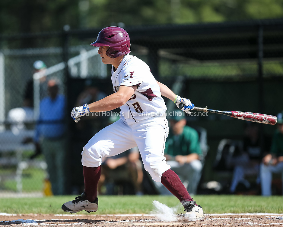 (6/6/16, NORTHBOROUGH, MA) Algonquin's Nolan Kessinger strokes a single during the tournament baseball game against Wachusett  at Algonquin High School in Northborough on Monday. Daily News and Wicked Local Photo/Dan Holmes