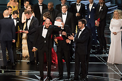 Feb 26, 2017 - Hollywood, California, U.S. - 'La La Land' producer JORDAN HOROWITZ holds up the winner card for best picture during The 89th Oscars at the Dolby Theatre. His film 'La La Land' had been read as the winner, but the actual winner was 'Moonlight.'  (Credit Image: © AMPAS/ZUMAPRESS.com)